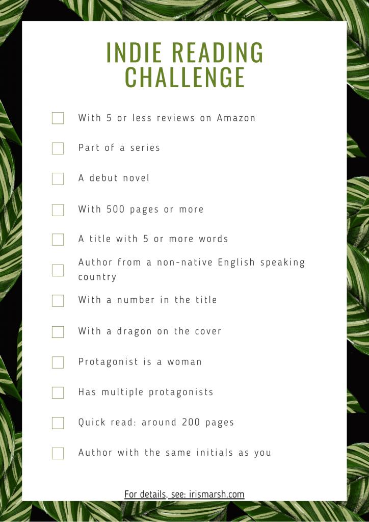 Fantasy indie reading challenge 2020.